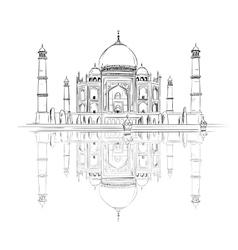 Hand drawn Taj Mahal with reflection vector image