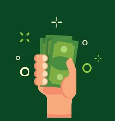 hand holding green money flat vector image