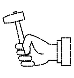 Hand holding mallet vector