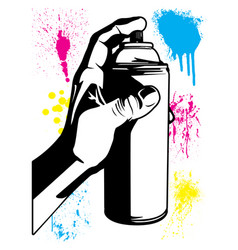 Hand using an aerosol can with paint splatters vector