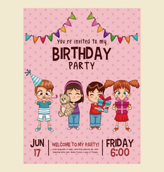 happy birthday invitation pink card vector image