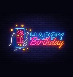 happy birthday neon sign happy birthday vector image