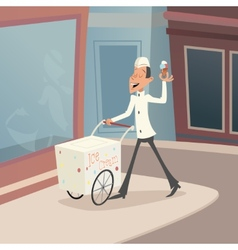 Happy Smiling Ice Cream Seller with Cart on street vector image