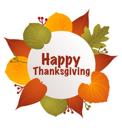happy thanksgiving text with leaves decoration vector image