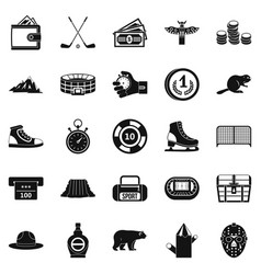 hockey referee icons set simple style vector image