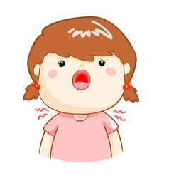 ill girl sore throat cartoon vector image