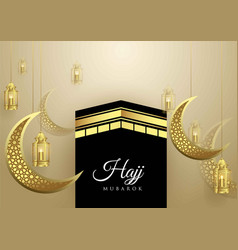 islamic design hajj greeting card template vector image