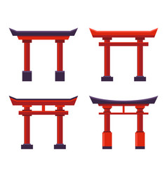 Japanese gate icons set on white background vector