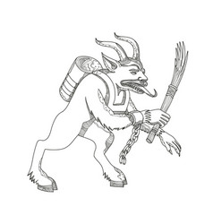 Krampus with stick doodle art vector