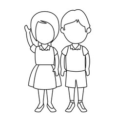 little students with uniform characters vector image vector image