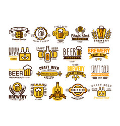 Logos set for brewing company vintage linear vector