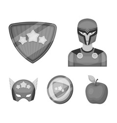 Man mask cloak and other web icon in monochrome vector