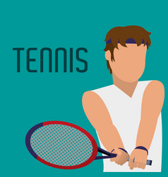 man play tennis with racket and uniform vector image