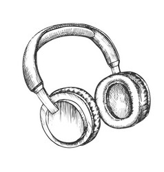 Melomane accessory wireless headphones ink vector