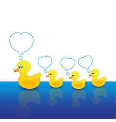 mother duck and duck with a message box vector image