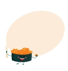 Nori seaweed sushi with caviar character holding vector
