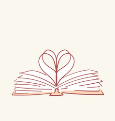 Opened book heart love hand drawn style vector