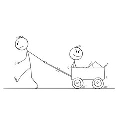 Person or boy pulling another man in cart cartoon vector