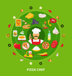 Pizza maker round composition vector