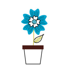 Potted periwinkle flower adornment nature plant vector