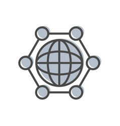 Process management icon with globe sign vector