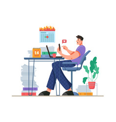 Procrastination and distraction on working place vector