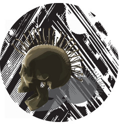 Punk skull - mixed media vector