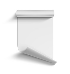 Roll blank white paper curled on corner vector