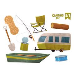 rope boat shovel house on wheels fishing rod log vector image