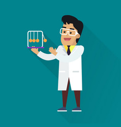 Scientists man at work vector