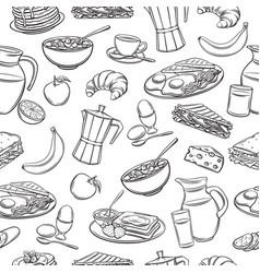 seamless pattern hand drawn breakfast vector image