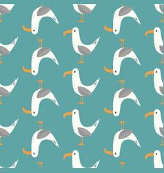 seamless pattern seagulls vector image