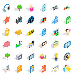 Seo support icons set isometric style vector