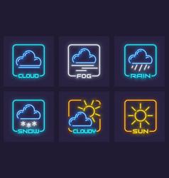Set forecast weather neon vector