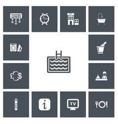 Set of 13 editable hotel icons includes symbols vector