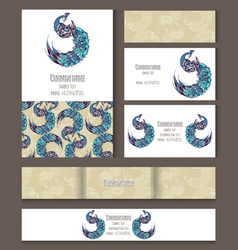 Set of templates for corporate style with swan vector