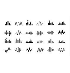 Set radio wave icons monochrome simple sound vector