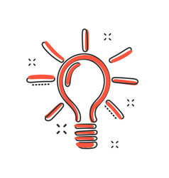 sketch light bulb icon in comic style hand drawn vector image