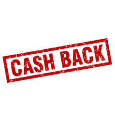 Square grunge red cash back stamp vector