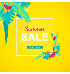 Summer sale banner with tropical leaves fruits vector