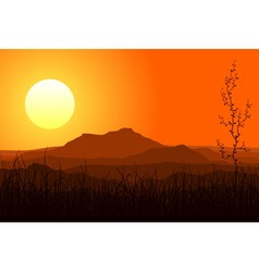sunset in mountains vector image vector image