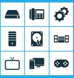 technology icons set with hard drive hdd vector image