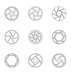 Types of aperture icons set outline style vector