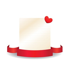 Valentine card with ribbon and label vector image