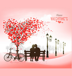 Valentines day holiday background with couple vector