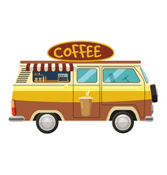 van mobile cafe icon cartoon style vector image