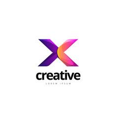 vibrant trendy colorful creative letter x logo vector image