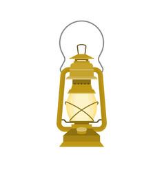Vintage kerosene glass lamp flat design vector