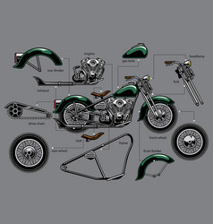 Vintage old motorcycle with separated parts vector