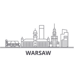 warsaw architecture line skyline vector image